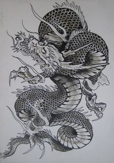 japanese dragon 2 by clarknorth Dragon Tattoo Colour, Dragon Tattoo Designs, Dragon Tattoo Flash, Tatoo Manga, Dragon Occidental, Dragon 2, Dragon Coloring Page, Japanese Dragon Tattoos, Asian Tattoos