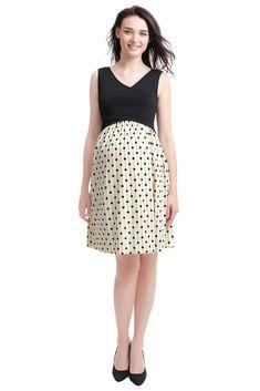 fae64336035bb Jacinda Colorblock V-Neck Maternity & Nursing Dress in Polka-Dot. Please