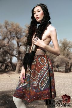 blooming mountain followers - Artka Original * Tsan flowers, double weave, exotic, knitted jacquard, knee-length winter skirt, Collector's Edition A09840 ,  $ 1259.00 US Dollar (.....)