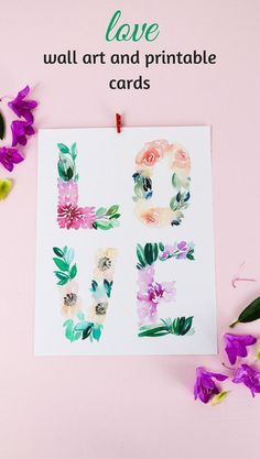 Whether your loves goes into your Valentine or your Nursery Decor, this LOVE print in original watercolor is the SWEETEST! Hand-painted and free to download. #freeprintable #valentines #LOVE #nurserydecor via @tinselbox_