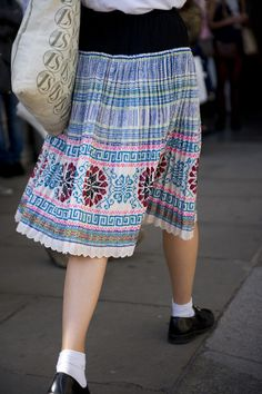 We're loving this homespun embroidered skirt and even more, the neon details on it!