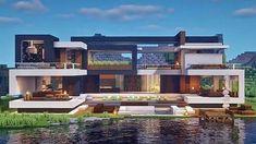 Minecraft Modern Mansion, Minecraft House Designs, Minecraft Creations, Minecraft Funny, Minecraft Videos, Minecraft Stuff, Manado, Minecraft Architecture, Minecraft Blueprints