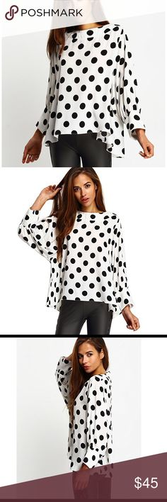 """🖤BATWING Polka Dot Blouse Beautiful polka dot blouse Small Only Bust 50"""" Length 24"""" Sleeve 20.7. Very stunning perfect for work of even a night out on the town! Tops Blouses"""
