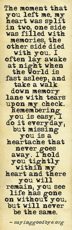 So true.. I've long moved on and started a new life but you will always be with me