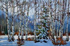 David Langevin - 'you guys aren't doing a very ood job of hiding me. what if a christmas tree hunter comes along? Painting Snow, Winter Painting, Artist Painting, Landscape Art, Landscape Paintings, Nature Sauvage, Mini Paintings, Canadian Artists, Rug Hooking