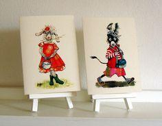 """2 x 2 Kartenset  """"Schaf und Esel"""" von Tizia Hula auf DaWanda.com"""