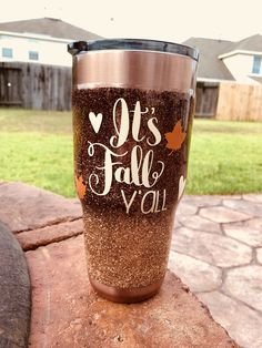 tumbler, personalized ready for the fall season. Vinyl Tumblers, Glitter Tumblers, Glitter Cups, Custom Tumblers, Tumblr Cup, Cup Crafts, Yeti Cup, Painted Cups, Custom Cups