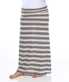 Take a look at this Navy & Beige Stripe Under-Belly Maternity Maxi Skirt by PinkBlush Maternity on #zulily today! $29.99, regular 48.00. Sale ends in 1 days, 7 hours. In otherwords, sale ends on Friday, June 7th in the evening.