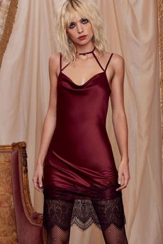 543516320ddb Love, Courtney by Nasty Gal Night Moves Slip Dress - Burgundy - Clothes