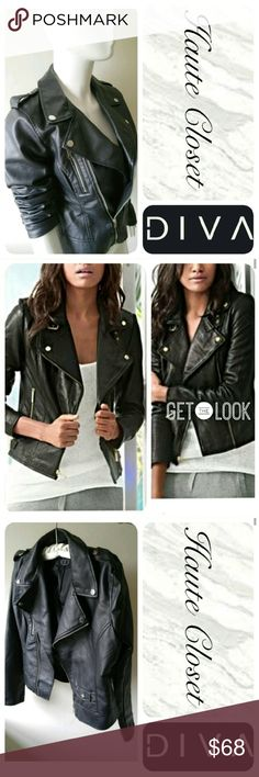 The Moto Listing Super chic and fabulous vegan leather moto jacket in black; silver zipper and finishing. Front button pocket with button shoulders, and flap collar. This jacket is a wardrobe must have! Looks great with everything from blouses and skinnies to sweaters and boyfriend jeans; great layering piece. Great transitional piece!  Measurements In Inches 6:Length: Length:  22 Sleeve: 24 Width: 16.5 8: Length: 22 Sleeve: 24 Width: 17.5 10: Length: 24  Width: 18  Sleeve Length: 24 12…