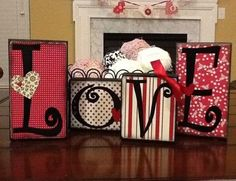 block wood  with vinyl | Wood blocks decorated with scrapbook paper and vinyl | DIY