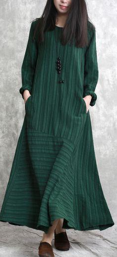 blackish green long linen dresses casual striped gown boutique patchwork caftans