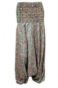 Jumpsuit Harem Pants Green Floral Printed Silk Boho Trouser  #harem #yogapants #bohemianpants #jumpsuit