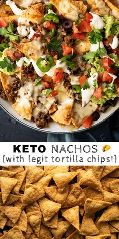 Low Carb & Keto Nachos (with our legit tortilla chips!) Low Carb & Keto Nachos (with our legit tortilla chips! Cetogenic Diet, Low Carb Diet, Diet Foods, Low Carb Meals, Ketogenic Recipes, Low Carb Recipes, Healthy Recipes, Protein Recipes, Diet Recipes