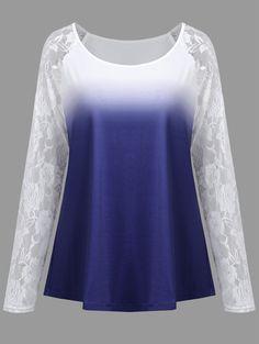 Plus Size Ombre Floral Lace Raglan Sleeve Tee - BLUE 5XL