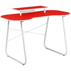 Flash Furniture NAN-JN-2360-MT-RED-GG Red Computer Desk with Monitor Stand and White Frame