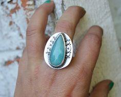 EC...Sky...Amazonite sterling silver ring