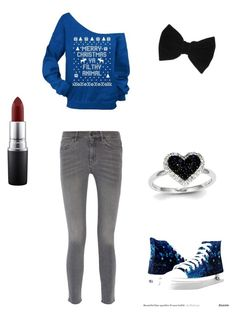 """Untitled #104"" by emmi-coconuthead ❤ liked on Polyvore featuring Disney, MiH Jeans, claire's, Kevin Jewelers and MAC Cosmetics"