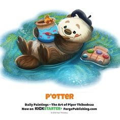 Daily P'otter by Piper Thibodeau on ArtStation. Cute Animal Drawings, Kawaii Drawings, Cute Drawings, Cartoon Art, Cute Cartoon, Animal Puns, Animal Food, Chibi, Food Drawing