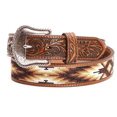 nocona mens tooled beaded leather belts brown thing i Western Belts, Western Cowboy, Leather Belts, Leather Tooling, Beaded Hat Bands, Look Cool, Belt Buckles, Mens Fashion, Loom Patterns