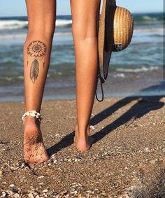 AlohaCoast tattoo tattoo tattoo calf tattoo ideas tattoo men calves tattoo thigh leg tattoo for men on leg leg tattoo Girly Tattoos, Boho Tattoos, Dream Tattoos, Feather Tattoos, Pretty Tattoos, Sexy Tattoos, Cute Tattoos, Body Art Tattoos, Tatoos