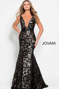 5163d324d9 Black nude long fitted embellished low v neck mermaid dress.