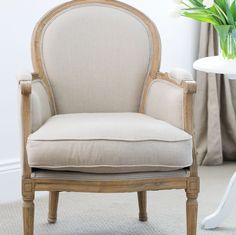 Oak and linen tub chair