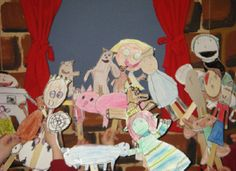 Fairy Tale Puppets. Kids learn jack and the bean stalk, goldilocks, and little red. Make puppets out of cardstock, crayons, sharpies, and large popsicle sticks. perform a puppet show. (powerpoint available!)