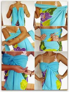 Read in this article the stylish ways to tie a beach sarong step by step. which cover: How to tie a beach sarong. how to wear a beach sarong Different ways to Fashion Mode, Diy Fashion, Ideias Fashion, Woman Fashion, Fashion Trends, Sarong Dress, Sarong Wrap, Summer Outfits, Cute Outfits