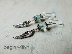 angel wings jewelry | ... Chamuel Earrings - Angel Wing Jewelry - Fluorite - Inner Peace