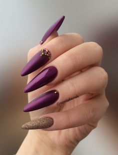 Almond Gold  lilac nails