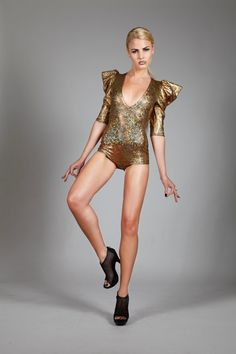 Signature Romper in Gold Hologram, Holographic Glitter Bodysuit, Disco Stage Leotard , Sexy Club Wear, Glam Rock Clothing, by LENA QUIST
