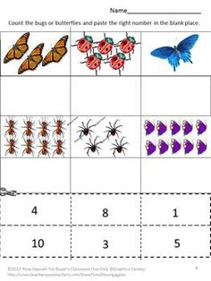 Bugs and Butterflies Cut and Paste worksheets. Nice for Spring or a kiddo that likes bugs.