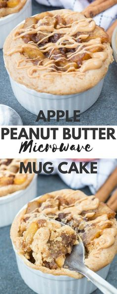 Eggless Apple Peanut Butter Microwave Mug Cake - The flavours of kitchen