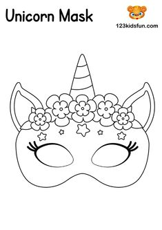 Unicorn Mask - Free Printable Mask Template - Coloring for Kids. Free Activities For Kids, Free Preschool, Preschool Learning, Learning Games, Educational Games, Fun Printables For Kids, Educational Software, Mardi Gras Mask Template, Masquerade Mask Template