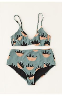 retro print inspired high waist bikini and bralette
