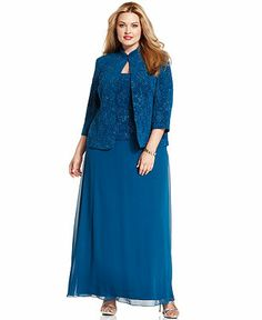 61228d4cf3c5c Alex Evenings Plus Size Patterned Sparkle Dress and Jacket - Plus Size  Dresses - Plus Sizes