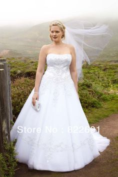 Factory David's Bridal Strapless Tulle Ball Gown Satin Plus Size Wedding Dresses