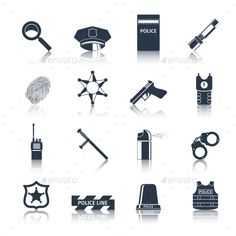 Police Icons Set Black by macrovector Police crime and justice black icons set with handcuffs fingerprints baton isolated vector illustration. Editable EPS and Render i Computer Crime, Police Crime, Make Money Today, Indesign Templates, Linnet, Information Graphics, Illustrator Tutorials, Pictogram, Icon Set