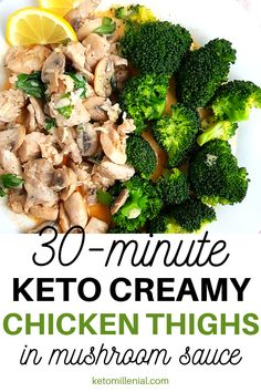 How to make keto creamy chicken and broccoli and keto mushroom sauce for chicken. Try this easy Keto Chicken Thighs, Keto Chicken Thigh Recipes, Keto Crockpot Recipes, Lunch Recipes, Diet Recipes, Chicken Recipes, Banting Recipes, Ketogenic Recipes, Keto Mushrooms