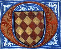 Armes d'Amaury de Craon (détail f°54v) -- «Martyrologe-obituaire du prieuré de La Haye-aux-Bonshommes», Anjou (France), 1475-1499 [BM d'Angers, Ms. 855] -- losangé d'or et de gueules.