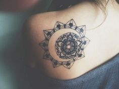 Wonderfully inked mandala shoulder tattoo. This compact and very detailed tattoo is perfect when you want something that says a lot about your way of life and beliefs all in one complicated circle.
