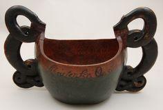 Wonderful double handled Norwegian antique painted ale bowl.