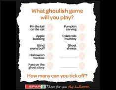 Visit our website for downloadable Halloween activities including this tick list of ghoulish games for your Halloween party. Halloween Activities, Activities For Kids, Played Yourself, Ghost Stories, Halloween Party, Personalized Items, Website, Feelings, Games