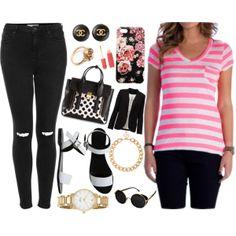 """Pink + Black"" by tsjgbrand on Polyvore"