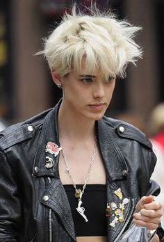 Put pins on biker jacket/ love the upscale/biker clash of it. Agyness Deyn your so cool girl !