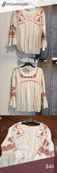 Free People Embroidered Top w/Bell Sleeves Free People Embroidered Top w/Bell Sleeves* Free People Tops Blouses