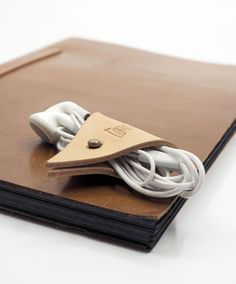 Handmade Leather Cord Holder/Earbud/Cable by ES Corner www.es-corner.com