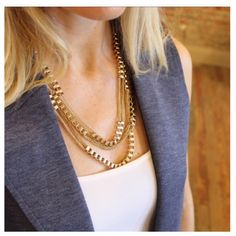 Gold layered chain necklace set Necklace and earring set Jewelry Necklaces