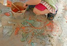 This DIY sidewalk paint recipe (it has baking soda in it) fizzes when you spray it with vinegar